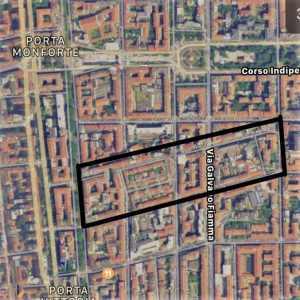 Mappa di Milano con zona via Lincoln