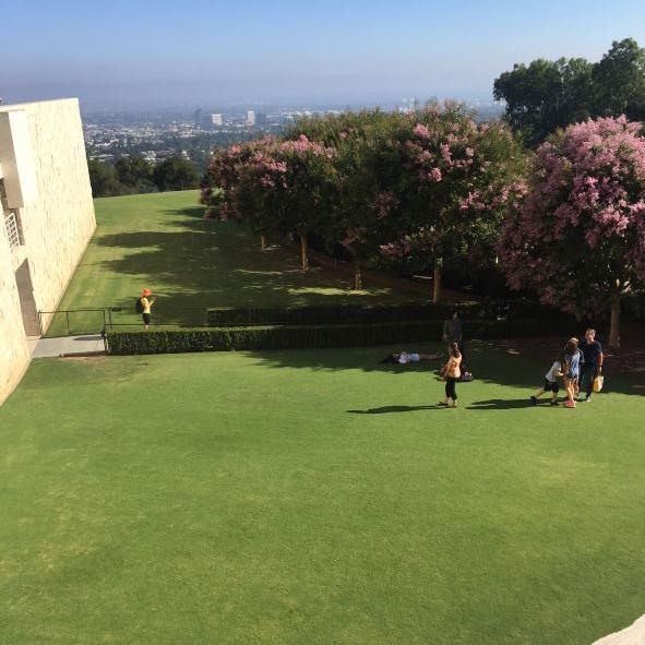 Uno dei prati del Getty Museum con vista sulla città di Los Angeles