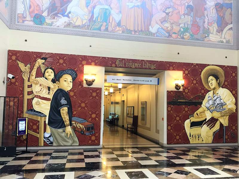 Un altro murales all'interno della Public Library di Los Angeles