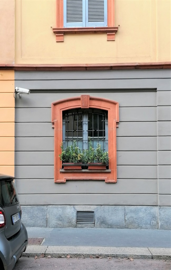 Case Candiani, finestra incorniciata in terracotta